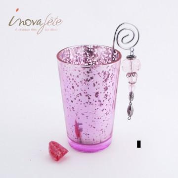 Photophore rose avec anse et perles - Label Fête