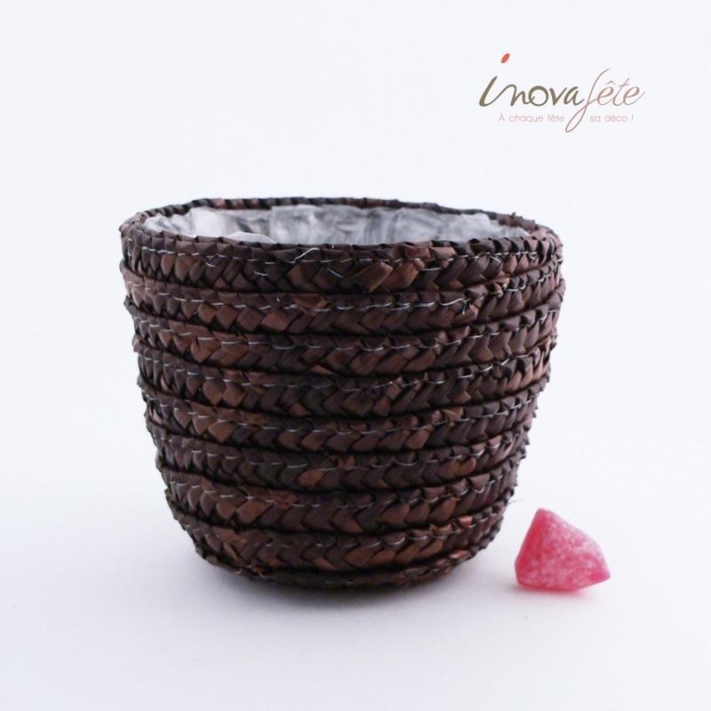 Panier paille tressée chocolat - Label Fête