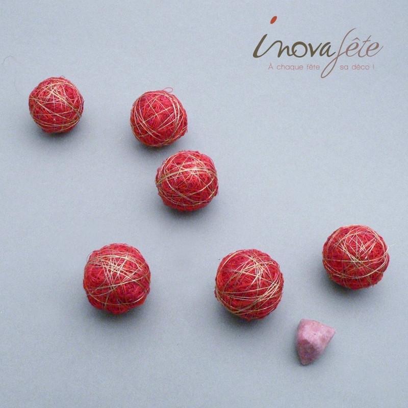 Boule sisal rouge et fil d'or Label Fête