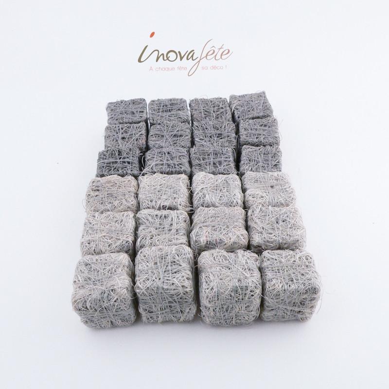 Cubes sisal bicolore gris /24 - Label Fête