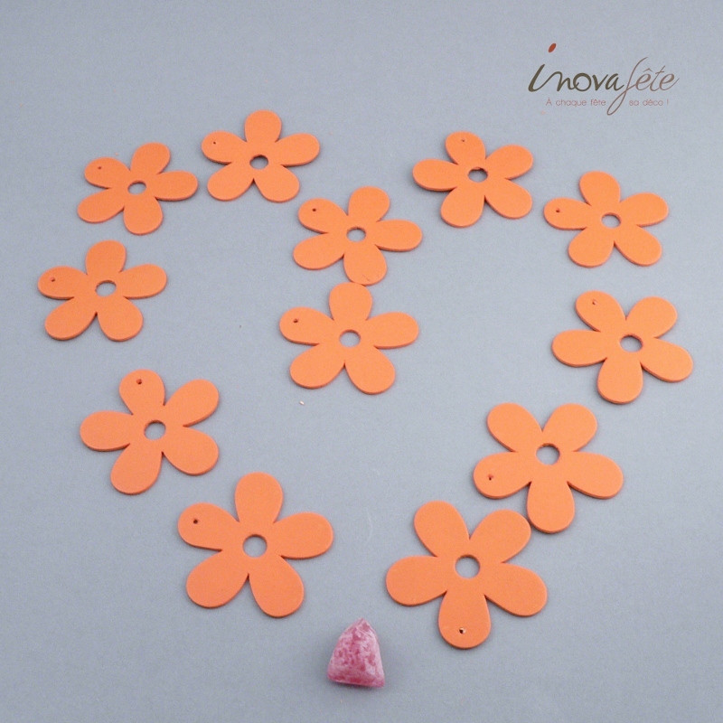 Fleur orange en bois /12 - Label Fête