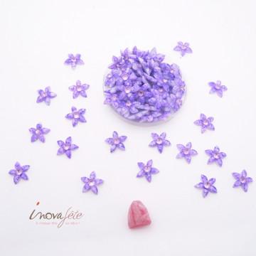 Fleur violette avec strass rose /68 - Label Fête