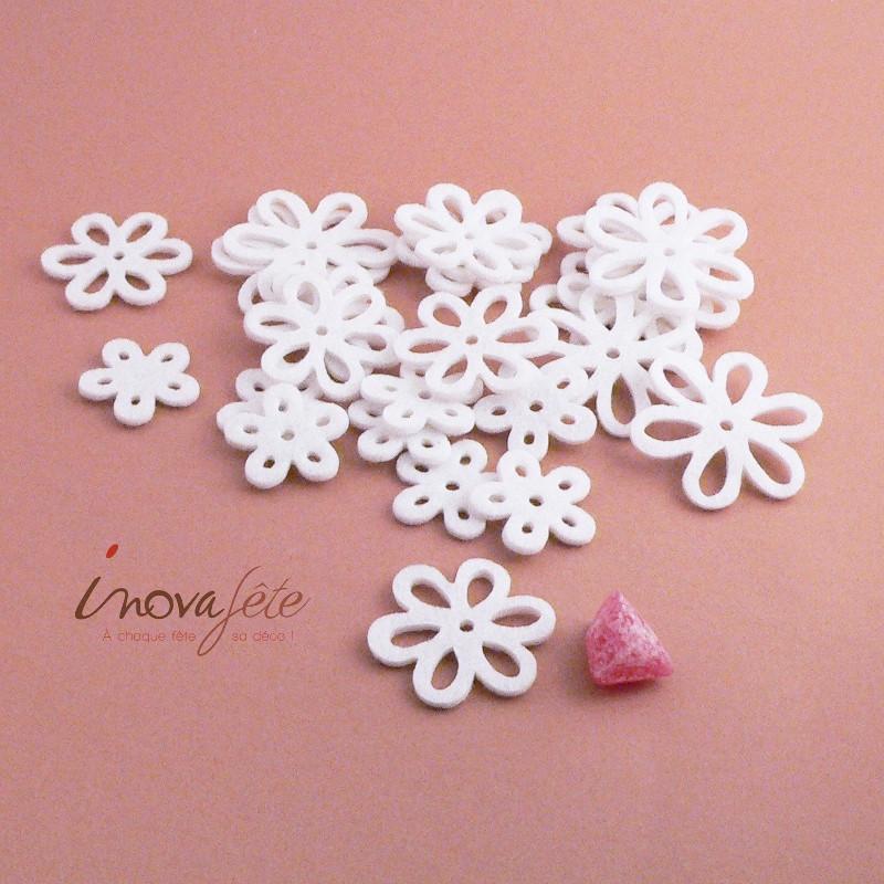 Fleur de feutre blanche /24 - Label Fête