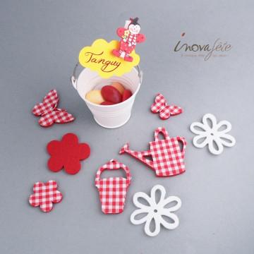 Papillon & fleur vichy rouge /24 - Label Fête