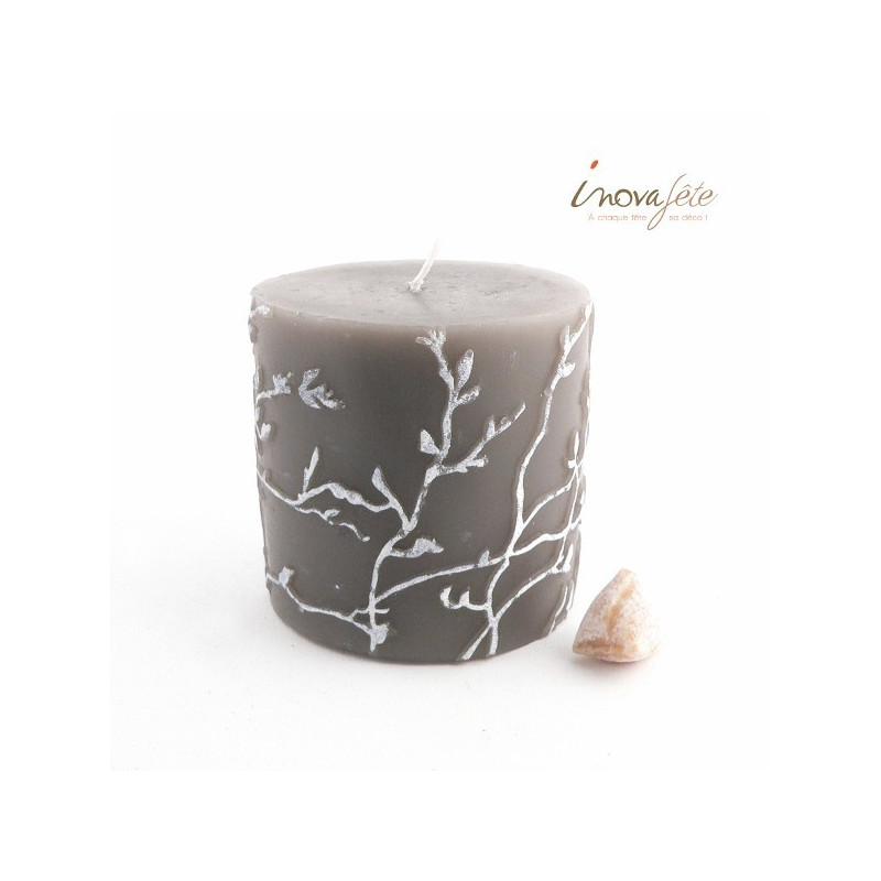 Bougie cylindrique décor branches