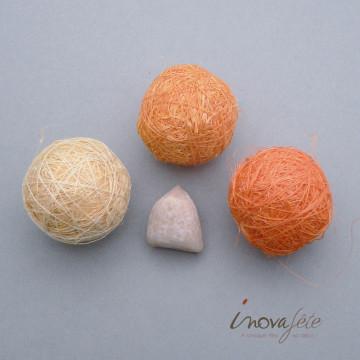 Boules sisal tricolore orange /24 - Label fête