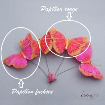 Papillon rouge sur tige /6 - Label Fête