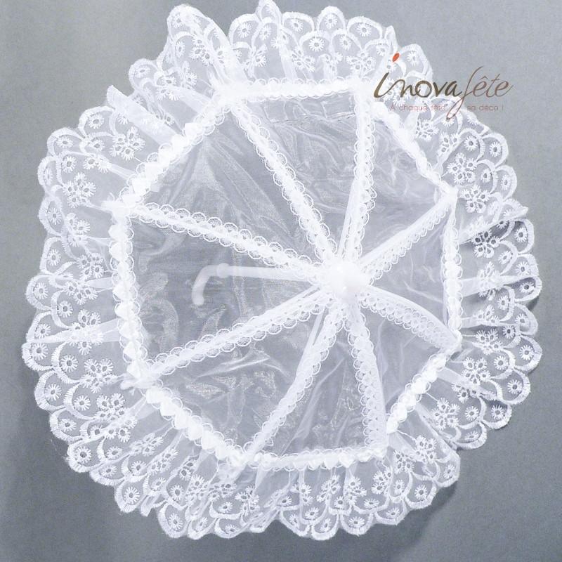 Décor petite ombrelle dentelle blanche - Label Fête