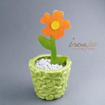 Pot vert décor fleur - Label Fête