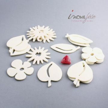 Fleurs et feuilles assortis en feutre ivoire /24