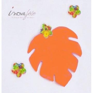 Feuille de philodendron orange et rose /12 - Label Fête
