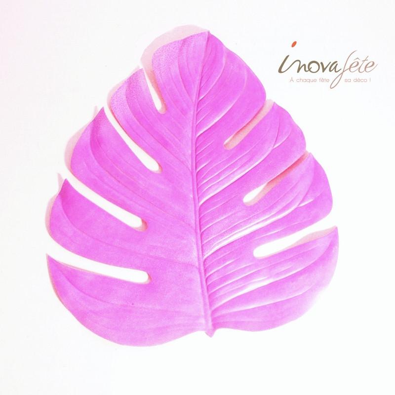 Feuille de philodendron vert kiwi et rose - Label Fête