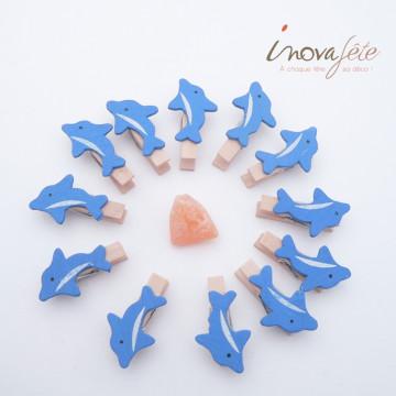 Pince dauphin bleu /12 - Label Fête
