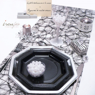 Chemin de table fibre ajourée noir 0.30x25m - Label Fête