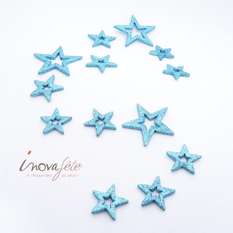 Étoile pailletée bleu glacier /24 - Label Fête