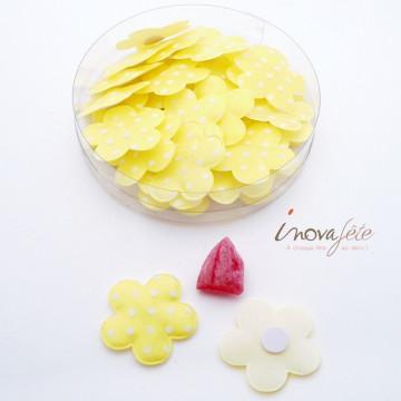 Fleur jaune à pois blancs /32 - Label Fête