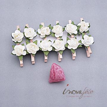 Pince bois naturel fleur ivoire /12 - Label Fête