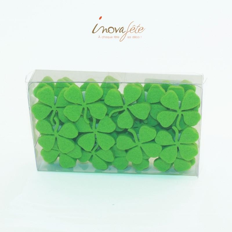 Petits trèfles 4 feuilles, en feutre vert anis /36 - Label Fête