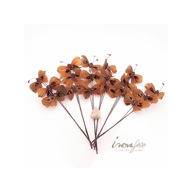 Papillon chocolat sur tige /18