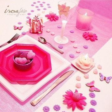 Chemin de table lamé rose 0.30x5m