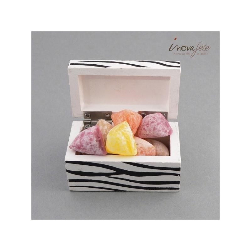 Boîte bois zèbre, un contenant à dragées original - Label Fête