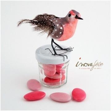 Oiseaux roses et gris /3 - Label fête