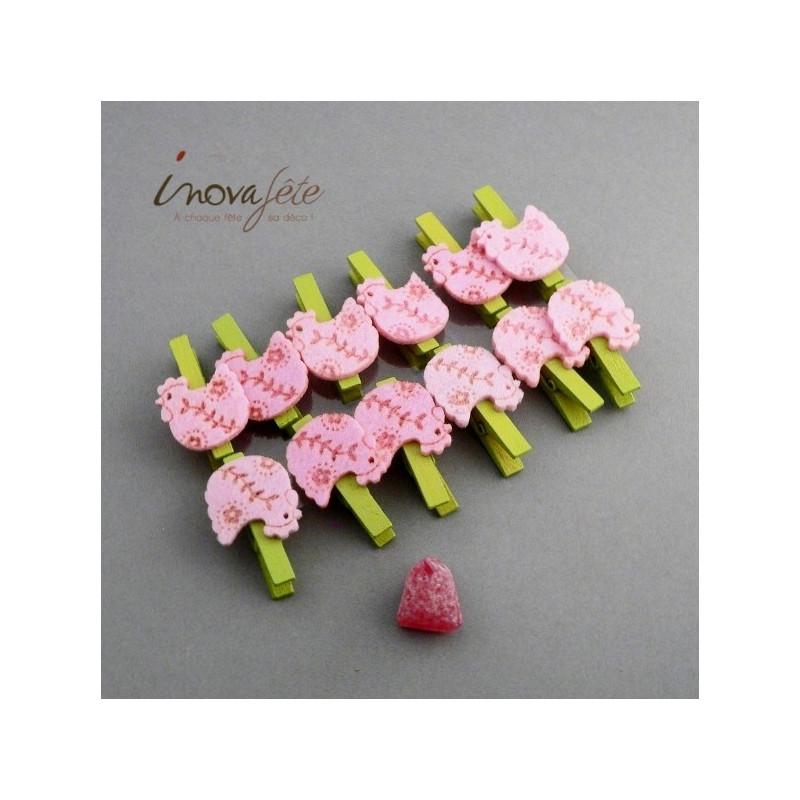 Pince poule rose /12