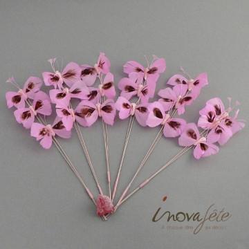 Papillon rose sur tige /18