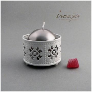 Pot métal émaillé blanc