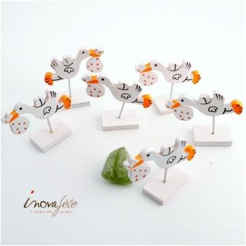 Cigogne en bois, blanc et orange /6, un marque place original
