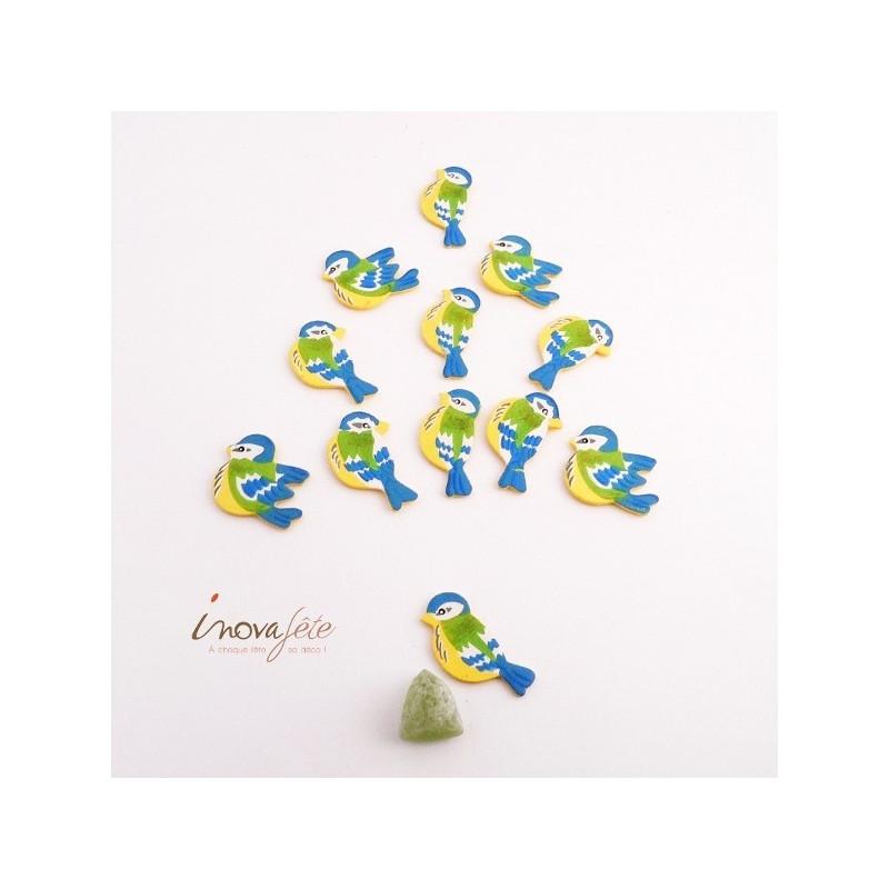 Oiseau en bois bleu, jaune, vert /12