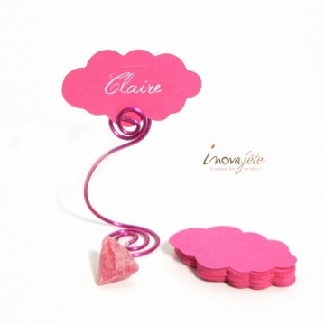 Etiquette nuage rose fuchsia /25