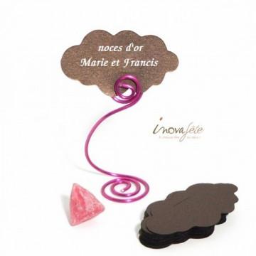 Etiquette marque-place nuage chocolat nacré /25