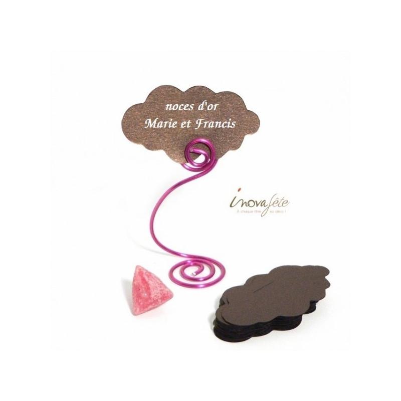 Étiquette marque-place nuage chocolat nacré /25 - Label Fête