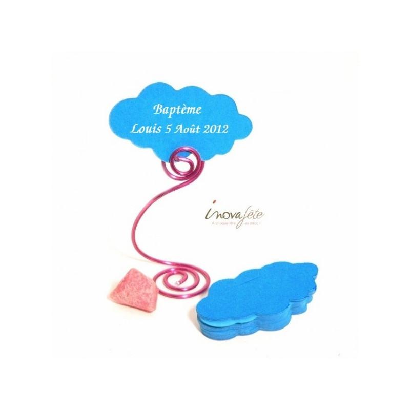 Étiquette nuage bleu turquoise /25 - Label Fête