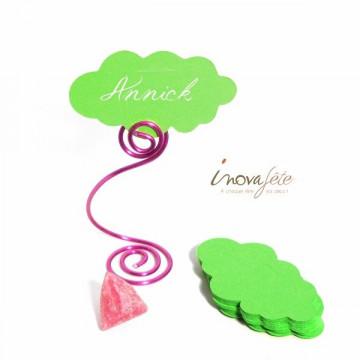 Étiquette nuage vert anis /25 - Label Fête