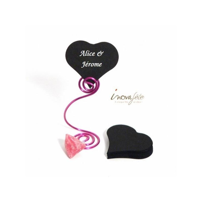 Etiquette coeur noir /25 - Label Fête