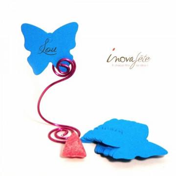 Étiquette papillon bleu turquoise /25 - Label Fête