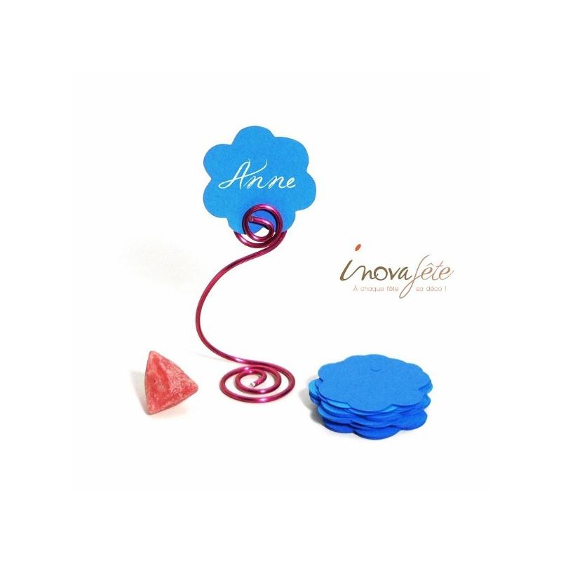 Etiquette fleur bleu turquoise /25