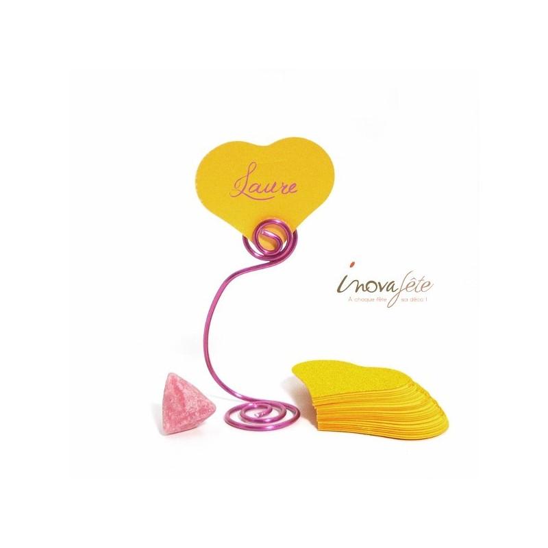 Étiquette cœur jaune soleil /25 - Label Fête