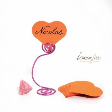 Étiquette cœur orange /25 - Label Fête