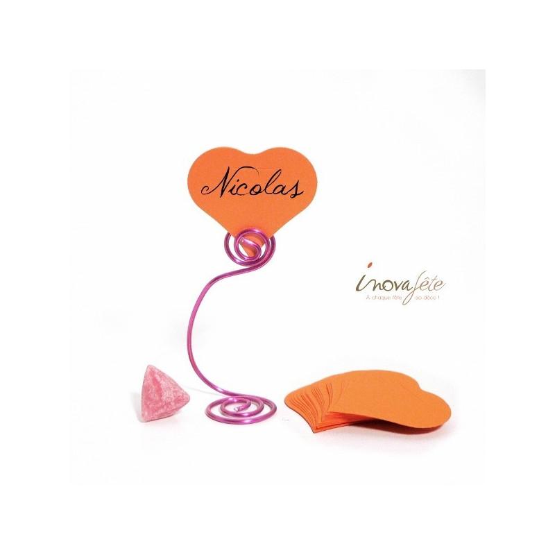 Etiquette coeur orange /25