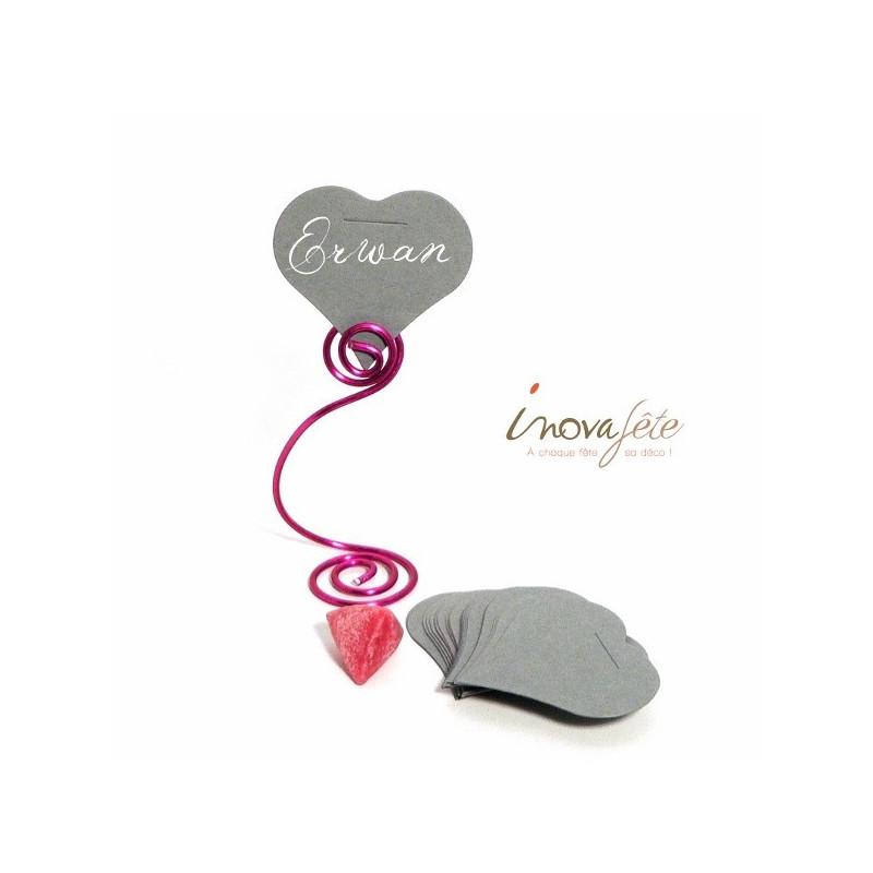 Étiquette cœur gris /25 - Label Fête