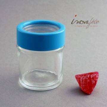 Pot verre à couvercle bleu