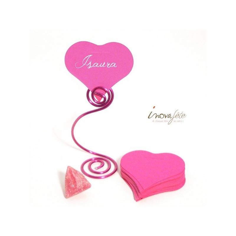 Etiquette coeur rose fuchsia /25