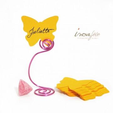 Etiquette papillon jaune soleil /25