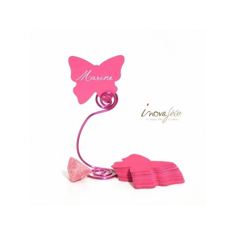 Etiquette papillon rose /25