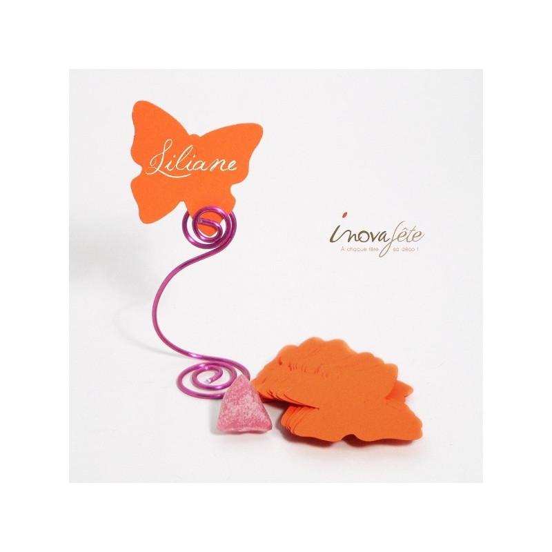 Étiquette papillon orange /25 - Label Fête