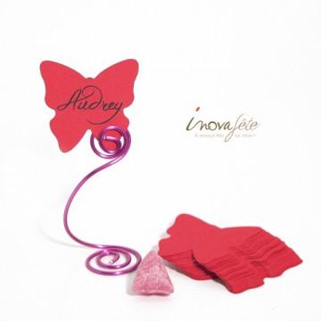 Étiquette papillon rose fuchsia /25 - Label Fête