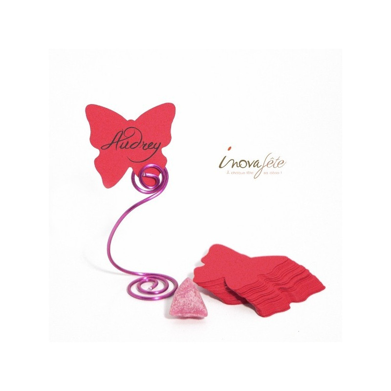 Etiquette papillon rose fuchsia /25